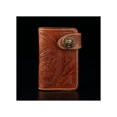 倉吉0077 骷髏酋長植鞣革皮雕手工財布/ 皮夾