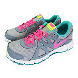 (大童)NIKE REVOLUTION 2 GS 慢跑鞋 灰/螢光粉紅/綠-555090008