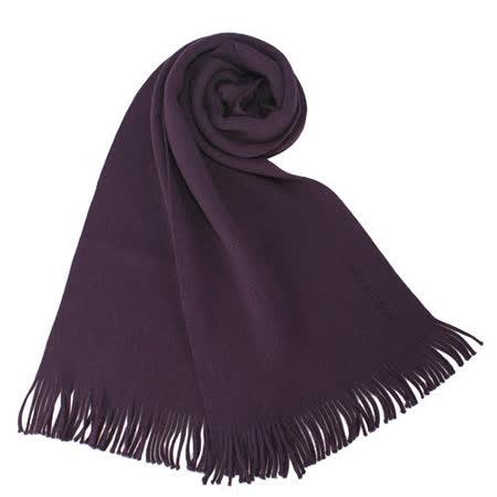 HUGO BOSS新款素面針織羊毛圍巾-紫色