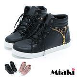 【Miaki】MIT 韓國首推短靴 豹紋平底踝靴(黑色 / 粉色)