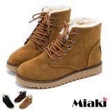 【Miaki】首爾保暖短靴 舖綿平底休閒鞋 (棕色 / 咖啡 / 黑色)