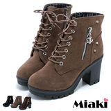 【Miaki】直擊東大短靴 高跟綁帶踝靴 (卡其 / 棕色 / 黑色)