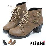 【Miaki】MIT 綁帶雙環短靴 粗跟時尚踝靴 (可可 / 棕色 / 黑色)