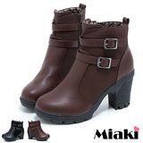 【Miaki】雙扣造型短靴 高跟圓頭踝靴(黑色 / 棕色)