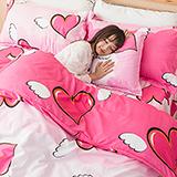【天使之星】高質感天絲絨雙人六件式舖棉兩用被床罩組