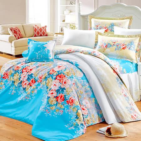 【花海仙境】高質感天絲絨雙人六件式舖棉兩用被床罩組
