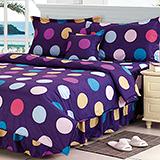 【你好色彩】高質感天絲絨雙人六件式舖棉兩用被床罩組