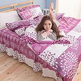 【葉葉情深】高質感天絲絨雙人六件式舖棉兩用被床罩組