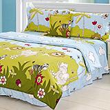 【動物party】高質感天絲絨加大六件式舖棉兩用被床罩組