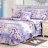 【馨香花顏】高質感天絲絨加大六件式舖棉兩用被床罩組
