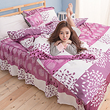 【葉葉情深】高質感天絲絨加大六件式舖棉兩用被床罩組