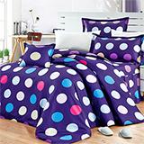 【你好色彩】高質感天絲絨加大六件式舖棉兩用被床罩組