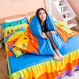 【美麗芭蕾】高質感天絲絨加大六件式舖棉兩用被床罩組