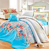 【花海仙境】高質感天絲絨加大六件式舖棉兩用被床罩組