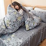【迷迭香】高質感天絲絨加大六件式舖棉兩用被床罩組