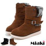 【Miaki】毛料環扣雪靴 厚底保暖短靴 (黑色 / 黃色)