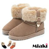 【Miaki】韓版保暖雪靴 厚底毛絨平底短靴 (黑色 / 卡其 / 桔色)