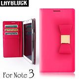 LAYBLOCK Ribbon Galaxy Note3手工真皮蝴蝶結保護套-粉紅