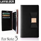 LAYBLOCK Ribbon Galaxy Note3手工真皮蝴蝶結保護套-黑色
