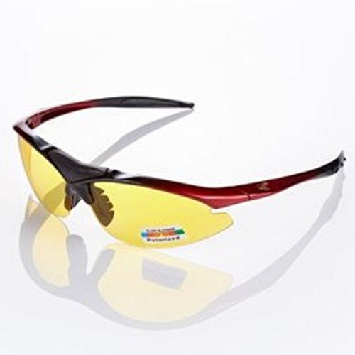視鼎Z~POLS 黑紅漸層太空纖維TR90 輕量框體 搭夜用增光黃抗UV400 偏光太陽眼