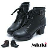 【Miaki】MIT 綁帶馬汀靴 個性粗跟短靴踝靴(黑色 / 咖啡)