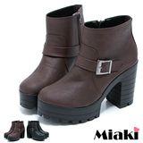 【Miaki】MIT 厚底韓版短靴 粗跟單扣高跟踝靴(黑色 / 咖啡)