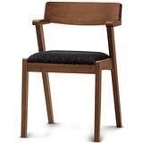 【椅吧】北歐自然木紋色實木布面餐椅