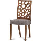 【椅吧】歐風設計椅背舒適實木布面餐椅