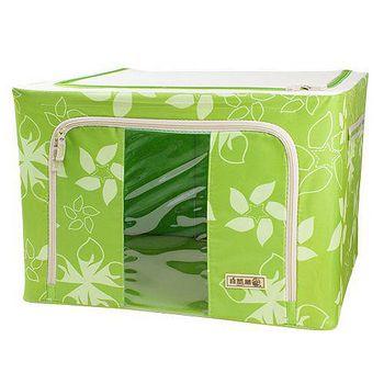 自然屋 粉漾花草摺疊收納箱 66L-青草綠 (4入)