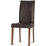 【椅吧】現代設計款高椅背實木皮面餐椅