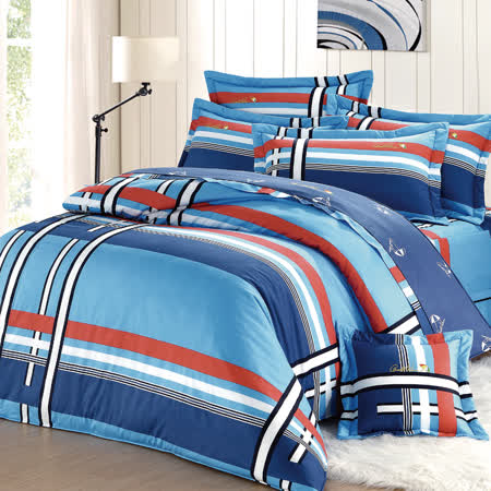 【Arnold Palmer雨傘牌】爵士格調-40紗精梳純棉床罩雙人七件組