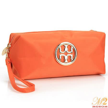 【MOROM】繽紛馬卡龍品牌Logo化妝包(橙色)123