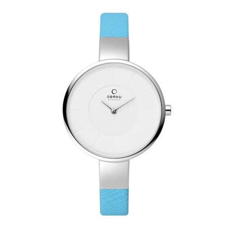 OBAKU 采麗時刻時尚腕錶-銀框x藍皮帶