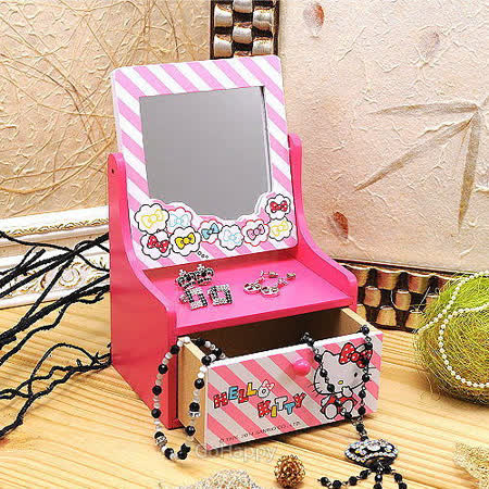 SANRIO【夢想雲Hello Kitty】化妝鏡飾品收納櫃