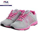 FILA輕量透氣慢跑鞋(女鞋)灰/螢光粉
