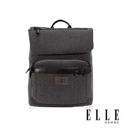 ELLE HOMME新款上市米蘭精品魅力II後背包14寸筆電扣層-黑EL83823-02