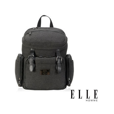 ELLE HOMME 新款上市 米蘭精品魅力II後背包可入13-14寸筆電-黑EL83825-02