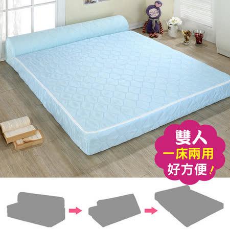 戀香 緹花針織彈簧沙發床(雙人)-藍色