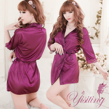 【Yisiting】經典の浪漫!柔緞和服睡袍﹝紫﹞
