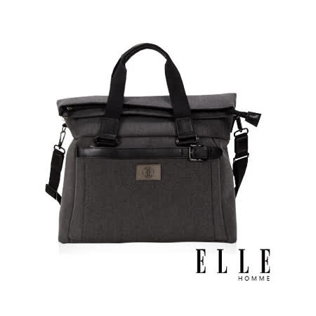 ELLE HOMME 新款上市米蘭精品魅力II13吋筆電扣層手提/側背旅行包款-黑EL82335-02