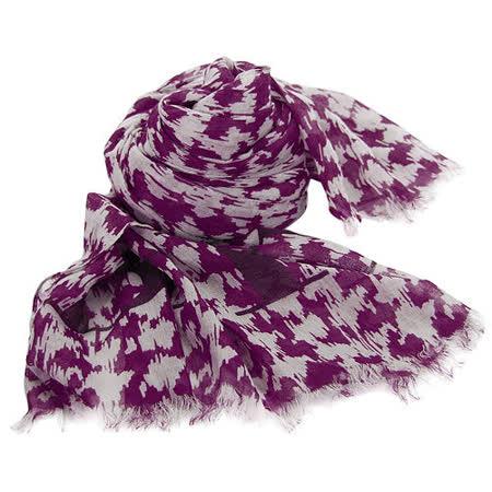 BURBERRY潑墨圖騰羊毛混絲流蘇寬版披肩式圍巾(紫)