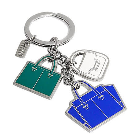 COACH藍綠白三色托特包造型串飾鑰匙圈