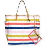 COACH彩色橫條紋側口袋肩背購物旅行包(超大)
