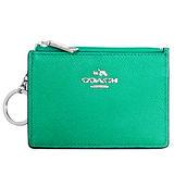 COACH湖水綠壓紋全皮馬車文字飾牌卡夾鑰匙零錢包