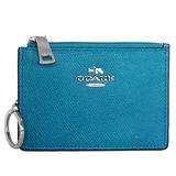 COACH土耳其藍壓紋全皮馬車文字飾牌卡夾鑰匙零錢包