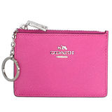 COACH深粉紅壓紋全皮馬車文字飾牌卡夾鑰匙零錢包