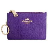 COACH深紫壓紋全皮馬車文字飾牌卡夾鑰匙零錢包