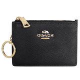 COACH黑色壓紋全皮馬車文字飾牌卡夾鑰匙零錢包