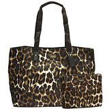 COACH咖啡豹紋二合一攜帶式購物旅行包