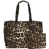 COACH 咖啡豹紋二合一攜帶式購物旅行包(加大款)